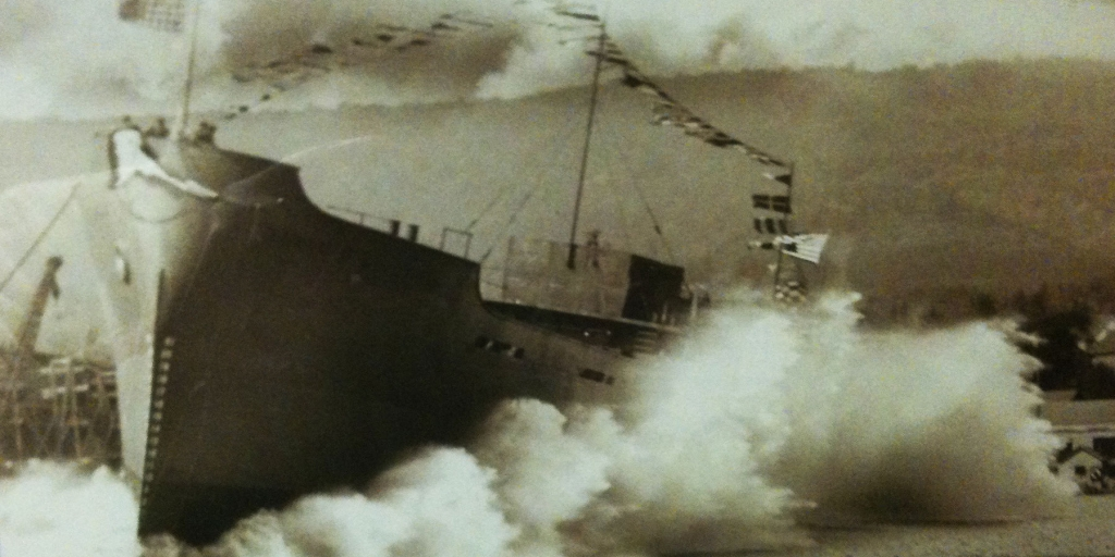 Liberty Ship launches from the Spirit lake Ship yard.